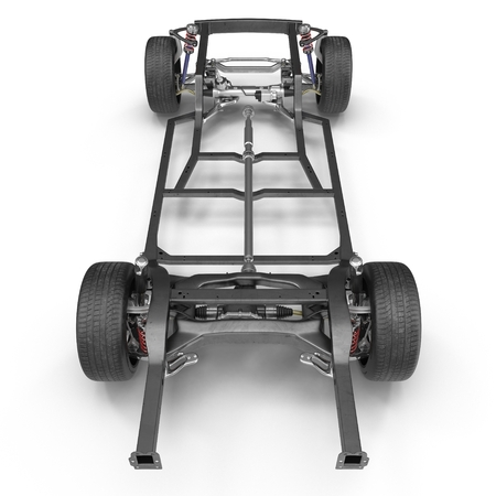 undercarriage: Render of car chassis without engine isolated on white background. 3D illustration Stock Photo