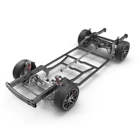 Render of car chassis without engine isolated on white background. 3D illustration Zdjęcie Seryjne