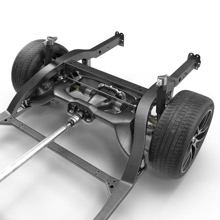 undercarriage: Car Chassis on white background. 3D illustration