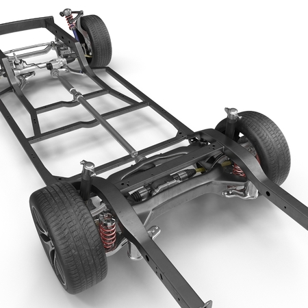 automotive industry: Car Chassis on white background. 3D illustration