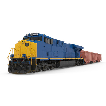 貨物列車白い背景の上。3 D イラストレーション