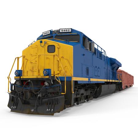 Cargo trein op een witte achtergrond. 3D illustratie