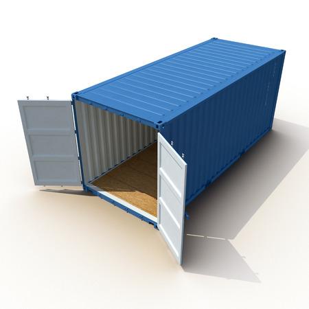 白い背景の上に分離された青い貨物コンテナーを開きます。3 D イラストレーション