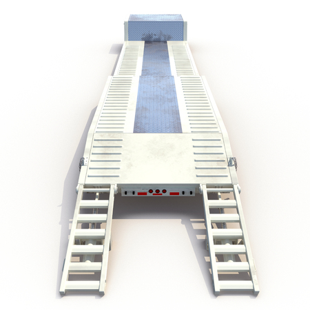 haul: Double Drop Lowboy Tri Axle Trailer on white background. 3D illustration Stock Photo