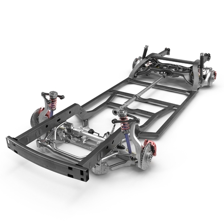 automotive industry: Car chassis without engine on white background. 3D illustration Stock Photo