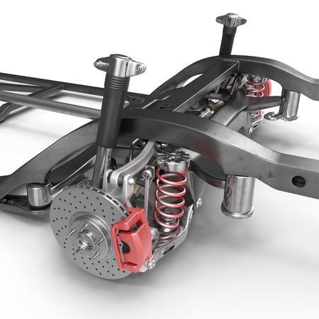 chassis: Car Shock Absorber and Spring on white background. 3D illustration Stock Photo