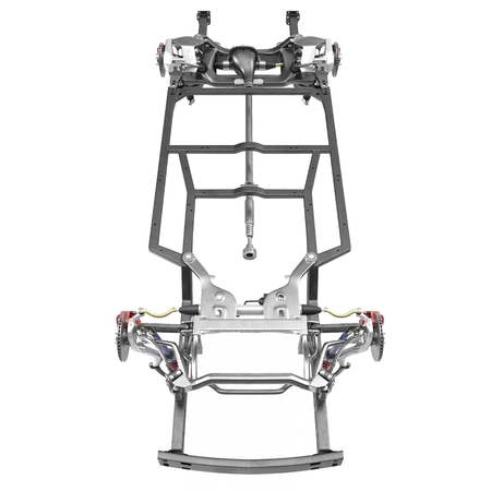 automotive industry: Car Chassis on white background. Front view. 3D illustration