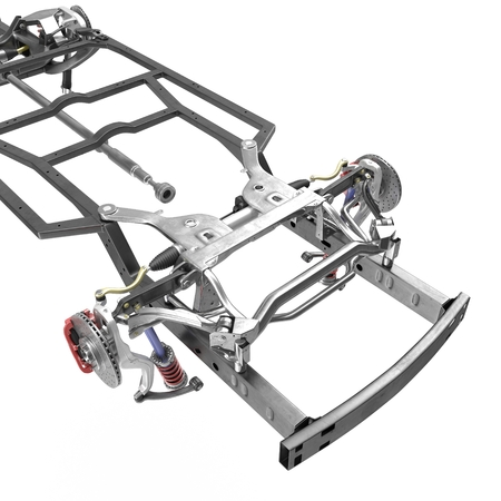 chassis: Car Chassis on white background. 3D illustration