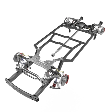 axle: Car Chassis on white background. 3D illustration