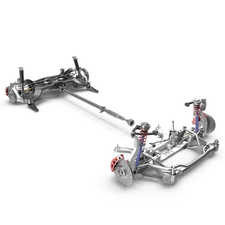 automotive industry: Render of car chassis without engine isolated on white background. 3D illustration Stock Photo