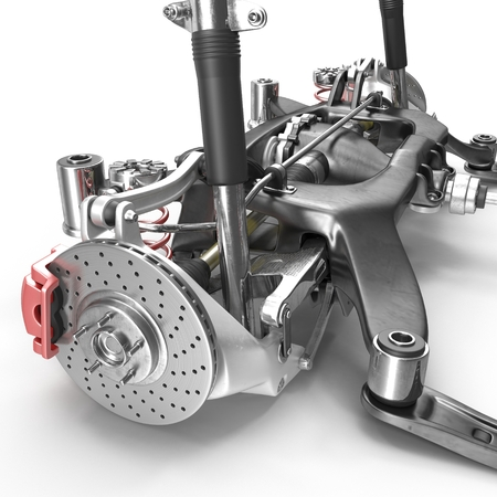 automotive industry: Shock Absorber and car suspension on white background. 3D illustration