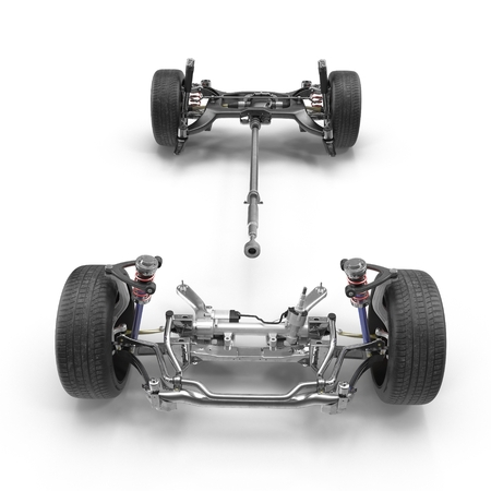 automotive industry: Car chassis without engine on white background. Front view. 3D illustration Stock Photo