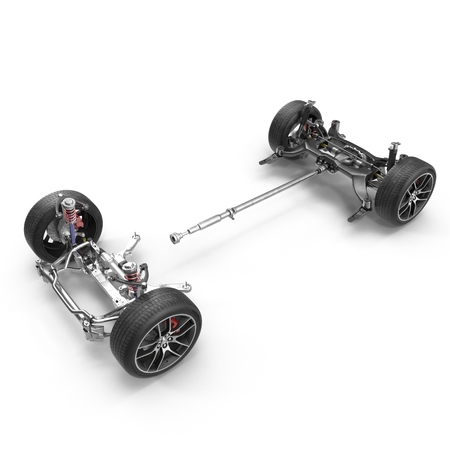Car chassis without engine on white background. 3D illustration Stock Photo