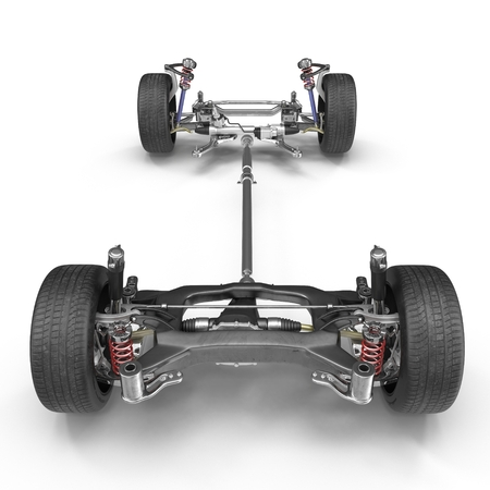 axle: Car chassis without engine on white background. Front view. 3D illustration Stock Photo