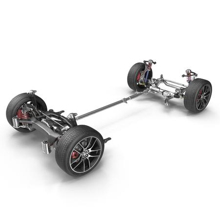 Auto-Chassis ohne Motor auf weißem Hintergrund. 3D-Darstellung Standard-Bild - 65636080