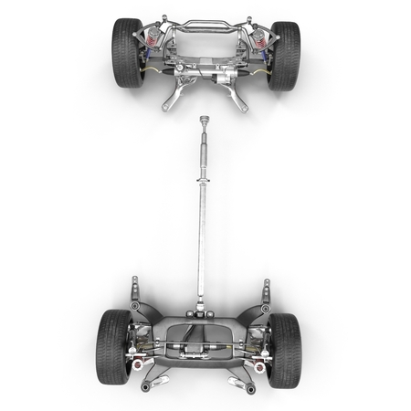 car engine: Car Chassis on white background. Top view. 3D illustration