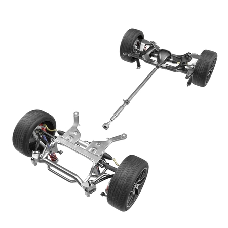Render of car chassis without engine isolated on white background. 3D illustration Stock Photo