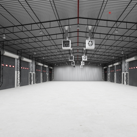 empty warehouse: The warehouse complex for the storage of consumer goods. Empty. 3D illustration