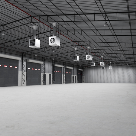 warehouse building: Factory building or warehouse building with concrete floor. Empty, 3D illustration Stock Photo