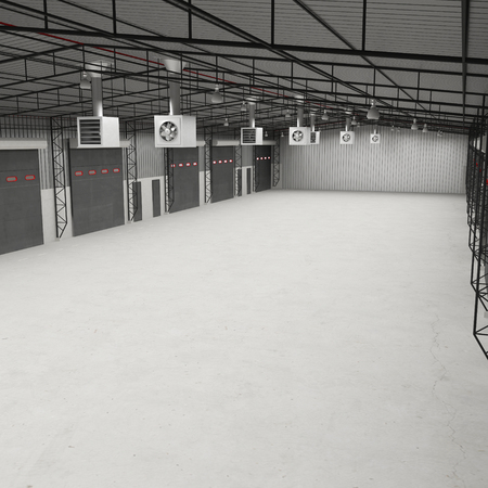 storage room: Interior of an empty storage room. Angle from up. 3D illustration Stock Photo