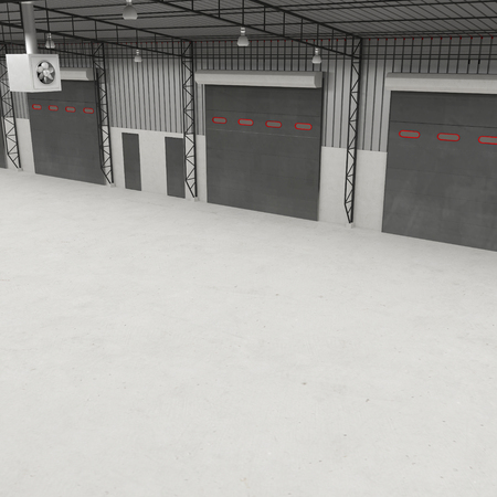 warehouse interior: interior of a warehouse ,clean and empty. Angle from up. 3D illustration