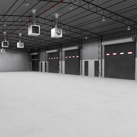 construction plant: interior of a warehouse ,clean and empty. Storehouse shutter doors. 3D illustration
