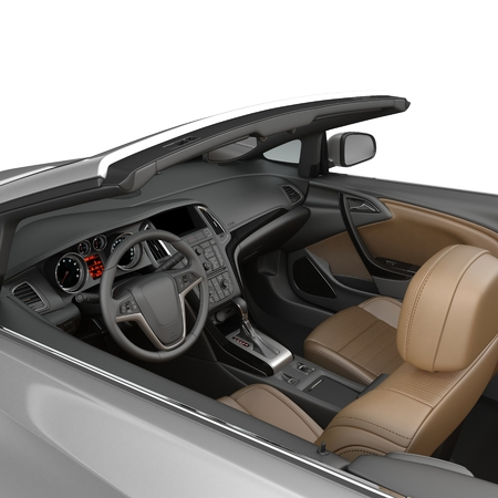 corvette: convertible sports car interior isolated on a white. 3D illustration Stock Photo