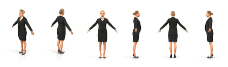 fullbody: Fullbody business woman renders set from different angles on a white background. 3D illustration