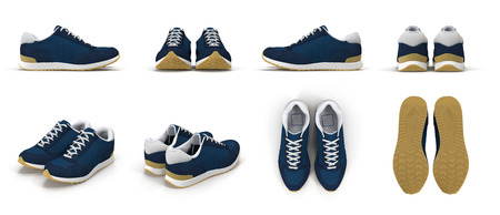 sneakers renders set from different angles on a white background. 3D illustration Stock Photo