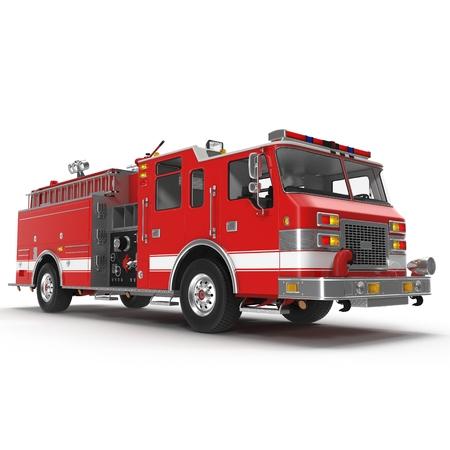 火災トラックまたは白い背景に分離されたエンジン。3 D イラストレーション