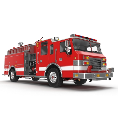 Fire truck or engine Isolated on White background. 3D illustration