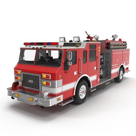 Fire Rescue Truck isolated on white background. 3D illustration