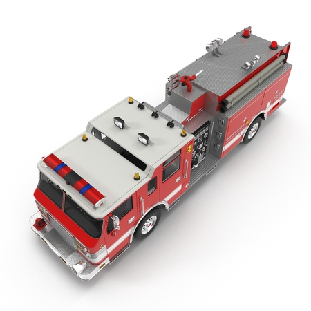 Angle from up fire truck isolated on white background. 3D illustration