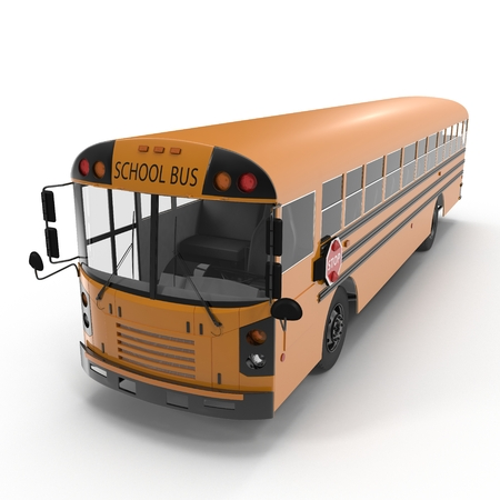 yellow schoolbus: Traditional yellow schoolbus isolated on white background. Angle from up. 3D illustration