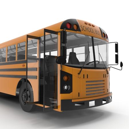 schoolbus: yellow school bus on white background. Door opened. 3D illustration
