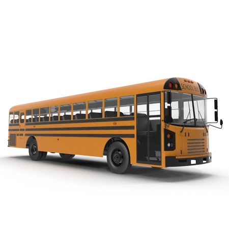 yellow schoolbus: Traditional yellow schoolbus isolated on white background. 3D illustration Stock Photo