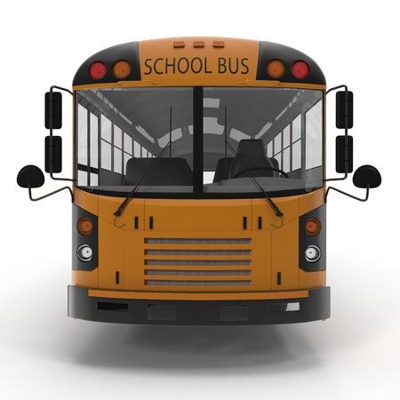 yellow schoolbus: Front view Traditional yellow schoolbus isolated on white background. 3D illustration