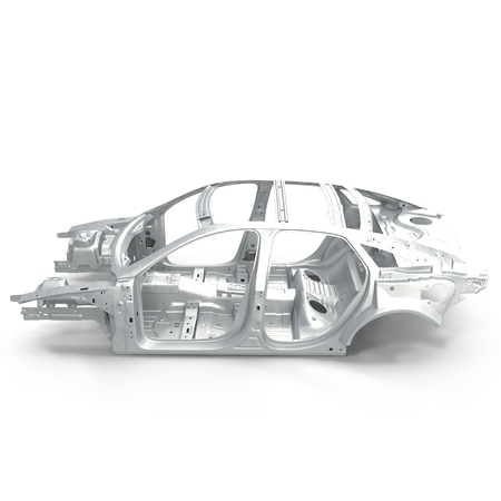 undercarriage: Side view Carcass af a sedan car on white background. 3D illustration Stock Photo