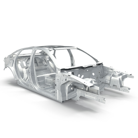 undercarriage: Carcass af a sedan car on white background. 3D illustration