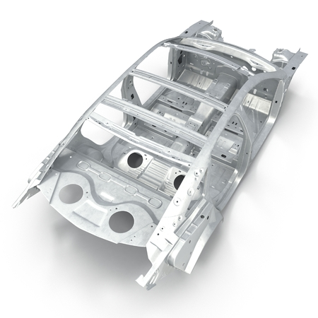 undercarriage: Carcass af a sedan car on white background. Angle from up. 3D illustration
