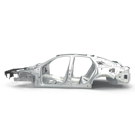 undercarriage: Sedan without cover on white background. Side view. 3D illustration