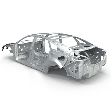 Back View Car Frame Without Chassis On White Background. 3D ...