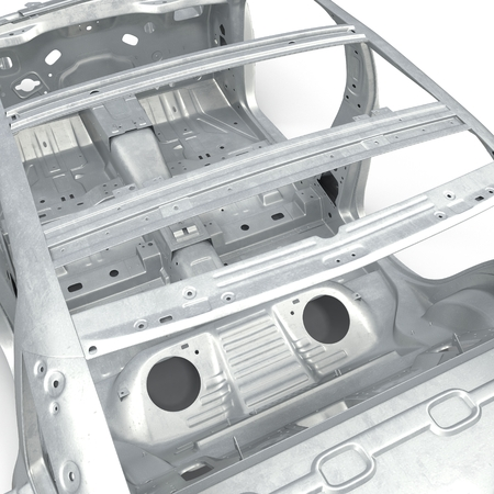 undercarriage: Skeleton of a car on white background. 3D illustration