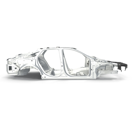 undercarriage: Side view Car Frame without Chassis on white background. 3D illustration Stock Photo