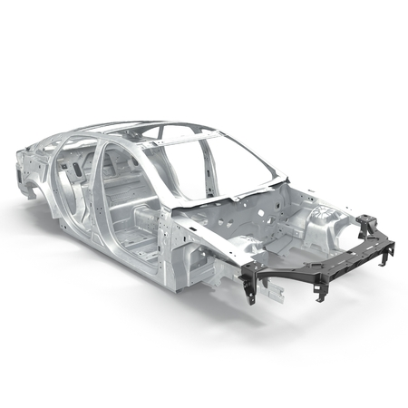 chassis: Car Frame without Chassis on white background. 3D illustration