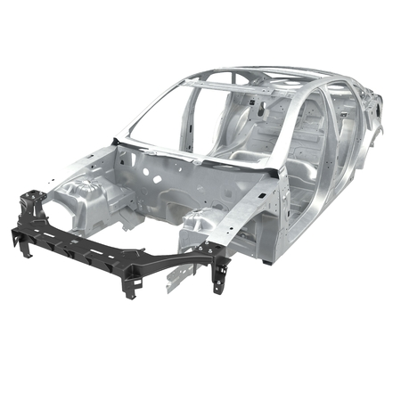 undercarriage: Car Frame without Chassis on white background. 3D illustration