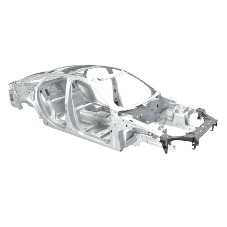 chassis: Car Frame without Chassis on white background. Angle from up. 3D illustration