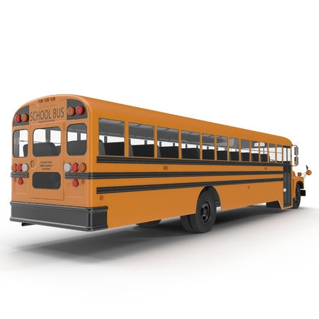 yellow schoolbus: School bus isolated on white background. 3D illustration