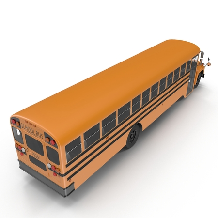 School bus isolated on white background. 3D illustration