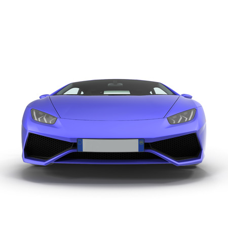 Front View Luxury Blue Sports Car Isolated On White Background... Stock  Photo, Picture And Royalty Free Image. Image 66046938.